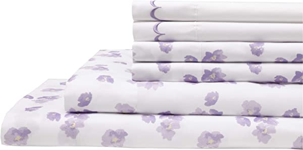 Elite Home Products Spring Meadow Microfiber Print Embroidered Bed Sheet Set Queen Lilac