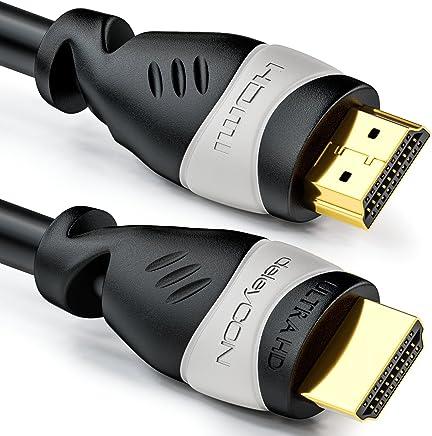 deleyCON 4m cable HDMI - compatible con HDMI 2.0a/b/1.4a - UHD / 4K / HDR / 3D / 1080p / 2160p / ARC - Alta velocidad con Ethernet - Negro / Gris