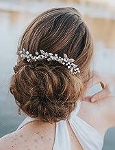 Kercisbeauty - Peineta de pelo largo para novia, novia, dama de honor, pequeñas hojas y perlas