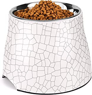 Flexzion Stainless Steel Elevated Dog Bowl Feeder - Raised Cat Pet Dish with Removable Food Water Holder Anti-tip Rubber Slip Bottom for Older Small to Medium Breeds