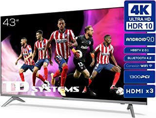 Televisiones Smart TV 43 Pulgadas 4k UHD Android 9.0 y HBBTV, 1300 PCI Hz, 3X HDMI, 2X USB. DVB-T2/C/S2, Modo Hotel - Tele...