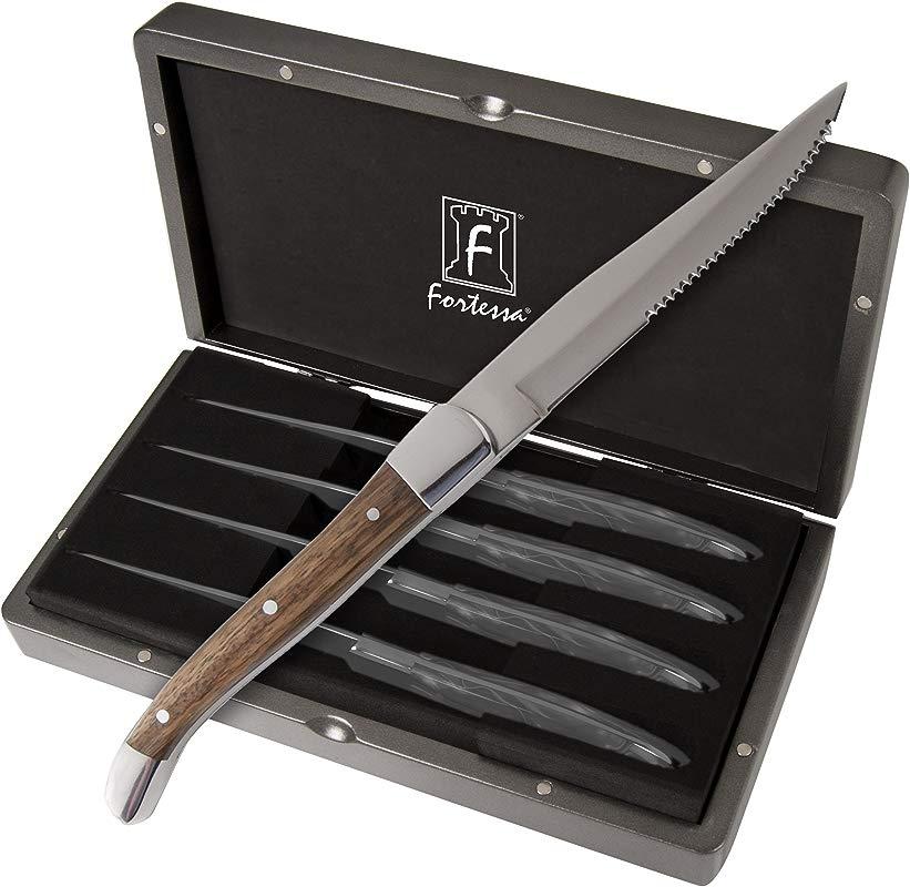 Fortessa Provencal 4 Piece Serrated Steak Knife Set With Box 9 25 Inch Light Wood Handle
