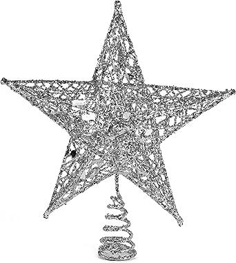 Ornativity Silver Star Tree Topper - Christmas Glitter Star Ornament Treetop Decoration