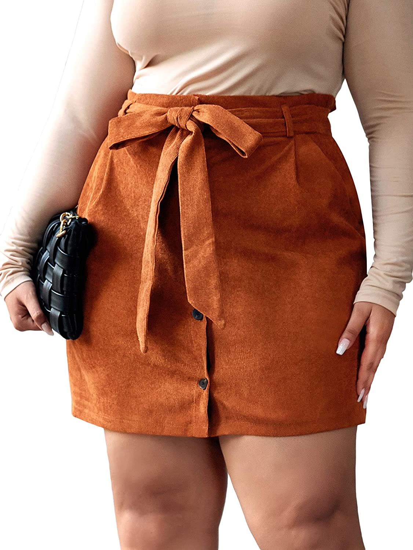 Floerns Women's Plus Size High Waist Belted Bodycon Mini Skirt