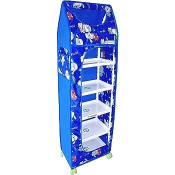 Flipzon Multipurpose 6 Shelve Baby Wardrobe, Foldable, (Unbreakable Material) (Blue)