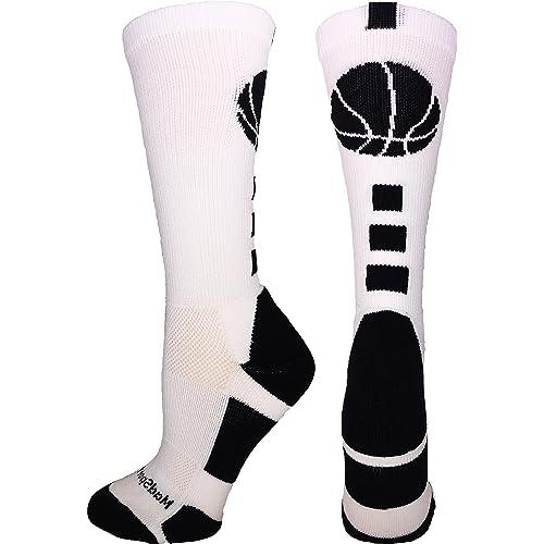 51d5ac112af MadSportsStuff Basketball Socks with Basketball Logo Athletic Crew Socks ( Over 20 Colors)