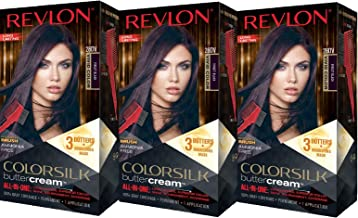 Revlon Colorsilk Buttercream Hair Dye, Vivid Violet Black, 3 Count