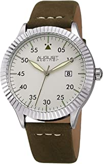 August Steiner Men's Silver Dial Leather Band Watch - AS8272GN