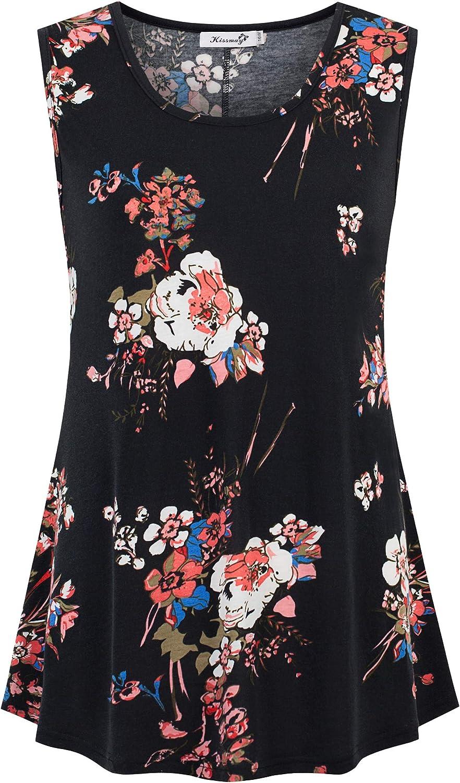 kissmay Plus Size Women Tank Tops Loose Fit Sleeveless Summer Floral Tunic Blouse