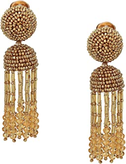 Short Beaded Tassel C Earrings