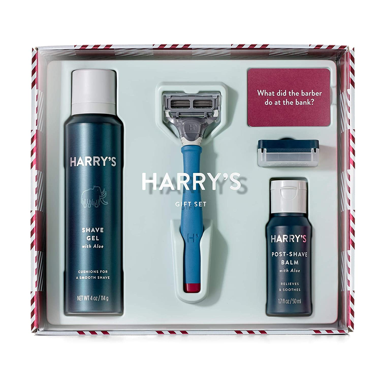 Harry's Holiday Gift Set - Razor ついに再販開始 Handle Gel Blade Shave Post 超目玉 Sha