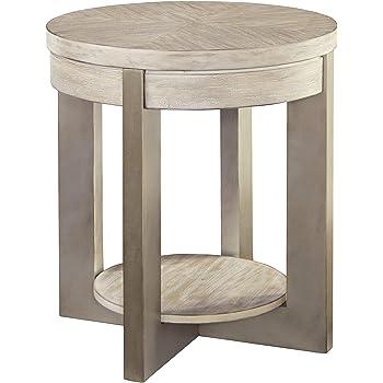 Amazon Com Signature Design By Ashley Urlander Round End Table Whitewash Furniture Decor