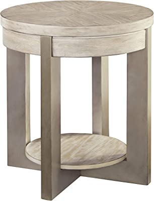 Signature Design by Ashley Urlander Round End Table Whitewash