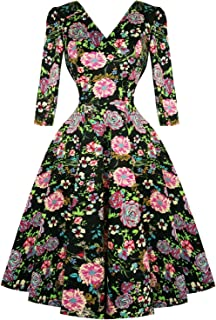 09a52d69f98e Hearts & Roses London Black Pink Floral 1950s Vintage Retro Flared Swing  Dress