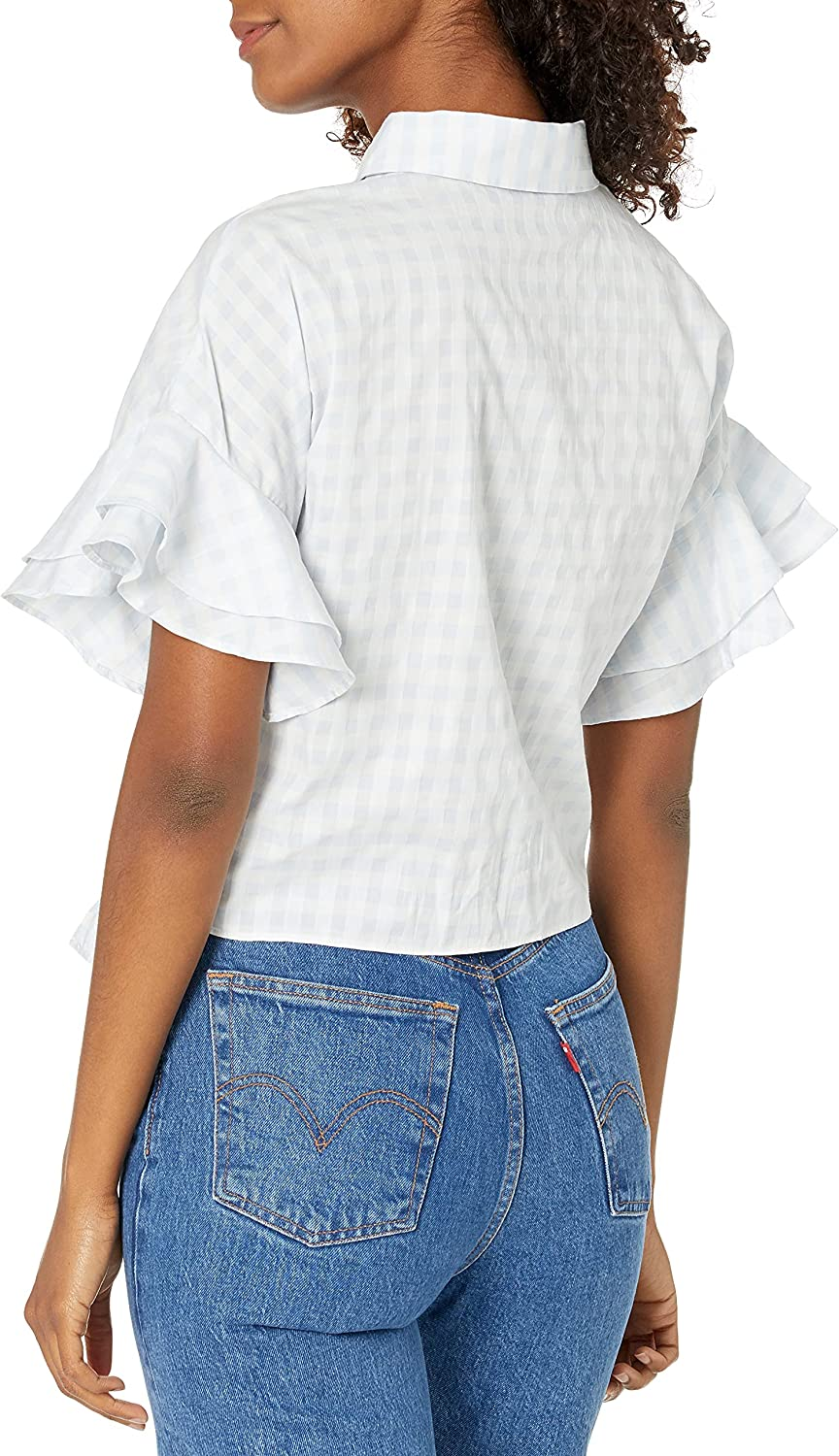 cupcakes and cashmere Women's Sunnie Gingham Blouse with Ruffle Sleeve Top