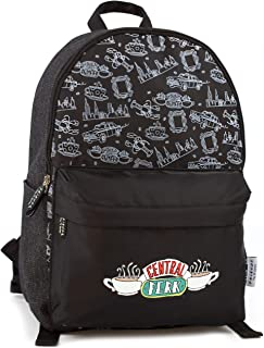 Friends Central Perk Logo Black Zip Stylish Fashion Backpack