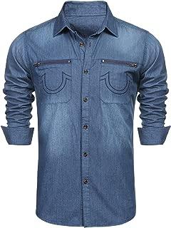 COOFANDY Men's Western Button Down Shirt Casual Long Sleeve Regular Fit Embroidered Zipper Pockets Denim Shirt