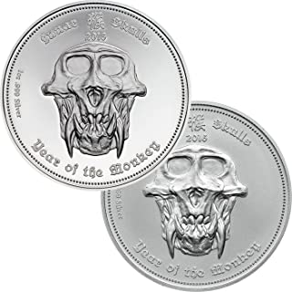 2016 PW 2 COIN MATCHED SET - Lunar Skulls YEAR OF THE MONKEY SkullCoins Chinese Zodiac (2) 1 Oz Silver Coins with COA - Palau $5 Dollars - Proof & BU Set with Matching Serial Numbers