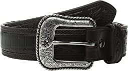 Croco Floral Embossed Tab Belt