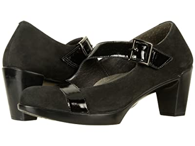 Naot Brava (Black Velvet Nubuck/Black Luster Leather) Women