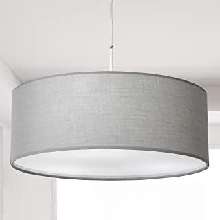 Pendant Light, Semi-Flush Mount Modern Fabric Ceiling Light Shade, Large Grey Drum Lampshade, Round Pendant Lamp, Lamps for bedrooms, 3 Bulbs