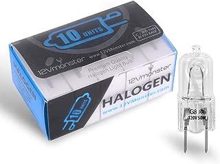 10 Pack-G8 50W 120V Halogen Light Bulbs JCD Type 110v 130v 50 Watt T4 G8 Under Cabinet Puck Lamp 120 Volt Undercabinet Microwave Oven Stove Top Kitchen Appliance Replacement Lighting Bi Pin Clear Lens