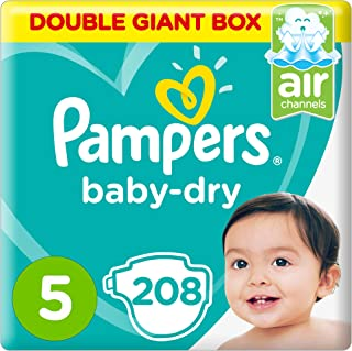 Pampers Baby-Dry Diapers, Size 5, Junior, 11-16kg, Double Giant Box, 208 Count