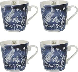 CreativeTops Royal Botanic Gardens, Kew 'Watercolour Meadow' Conical Floral-Printed Fine China Mugs, 350 ml (12.5 fl oz) - Navy Blue (Set of 4)