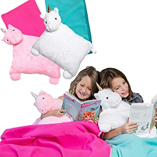 Unicorn Pillow - Kids Travel Pillows for Airplanes - Toddler Kids Plane Pillow & Fleece Blanket - Unicorn Gifts for Girls Stuffed Animal Pillow Buddy with Travel Size Blanket, White & Turquoise