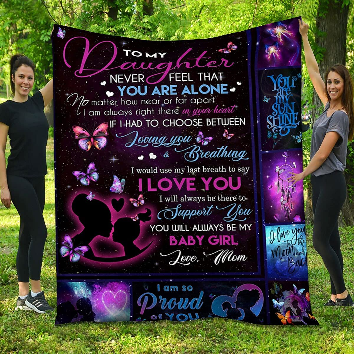 Daughter Quilt from Mom Free shipping Atlanta Mall anywhere in the nation - Girl Butterfly and Love You I