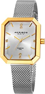Akribos XXIV Women's Octagonal Watch - Genuine Diamond Markers on a Stainless-Steel Mesh Bracelet - AK909