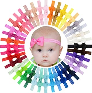 "WillingTee Baby Girls Headbands Tiny Bows 2.75"" Grosgrain Ribbon Hair Bow Hair Band Hair Accessories for Baby Girls Infant..."