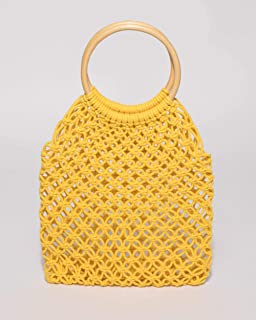 Yellow Crochet Cane Small Bag