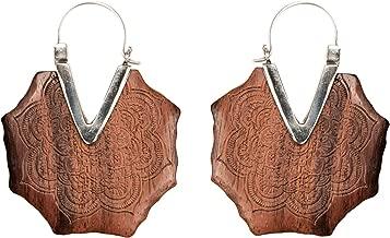 81stgeneration Women's .925 Sterling Silver Wood Brown Mandala Flower Engraved Pattern Earrings