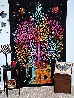 Om Export Elephant Tree Indian Mandala Bohemian Art Hippie Wall Hanging Bedspread Bedcover Beach Throw Room Dorm Single Be...