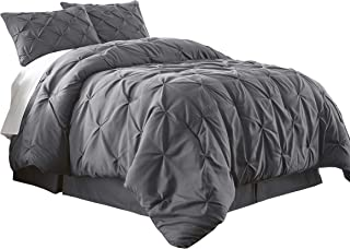 Chezmoi Collection Berlin 3-Piece Pintuck Bedding Comforter Set (Queen, Gray)