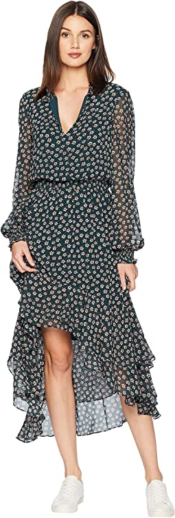 Long Sleeve Ditsy Attire Mock Neck High-Low Dress
