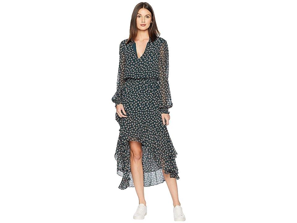 1.STATE Long Sleeve Ditsy Attire Mock Neck High-Low Dress (Pine) Women