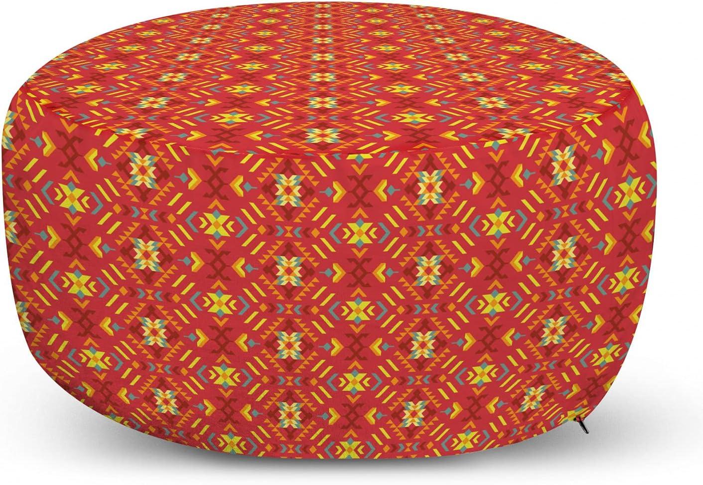 Lunarable Aztec Boho Ottoman Pouf Super Special Oakland Mall SALE held Triba Mayan Pattern Primitive