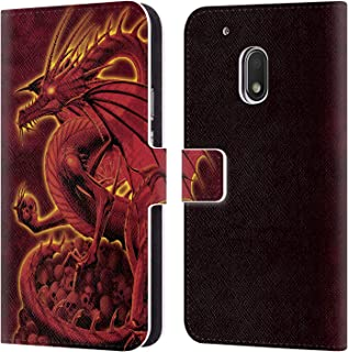 Official Vincent HIE Abolisher Red Dragons 2 Leather Book Wallet Case Cover Compatible for Motorola Moto G4 Play