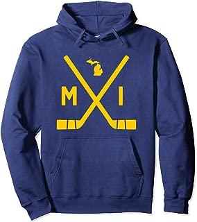 Vintage Michigan Ice Hockey Sticks State Outline Hoodie