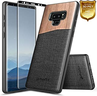 Galaxy Note 9 Case with Full Coverage Screen Protector 3D PET, NageBee Premium [Natural Wood] Canvas Fabrics Heavy Duty Hybrid Armor Shockproof Rugged Durable Case for Samsung Galaxy Note 9 -Wood