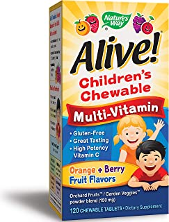 Nature's Way Children's Premium Chewable Multivitamin, Fruit and Veggie Blend (150mg per Serving), Gluten Free, 120 Chewable Tablets