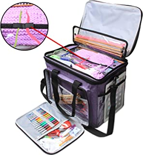"""Teamoy Knitting Bag, Yarn Tote Organizer with Cover and Inner Divider (Sewn to Bottom) for Crochet Hooks, Knitting Needles(up to 14""""), Project and Supplies, Purple(No Accessories Included)"""