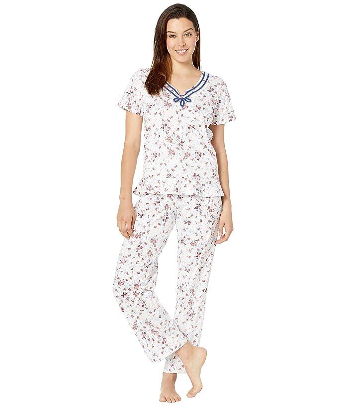 Carole Hochman Short Sleeve Long Pajama Set (Red & Blue Ditsy) Women