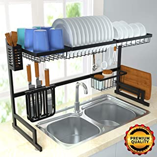 ORASANT Dish Drying Rack Over the Sink Kitchen Supplies Storage Shelf Countertop Space Saver Display Stand Tableware Drainer Organizer Utensils Holder Stainless Steel, Black