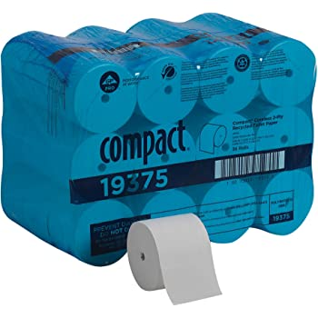 Compact Coreless 2-Ply Recycled Toilet Paper by GP PRO (Georgia-Pacific), 19375, 1,000 Sheets Per Roll, 36 Rolls Per Case
