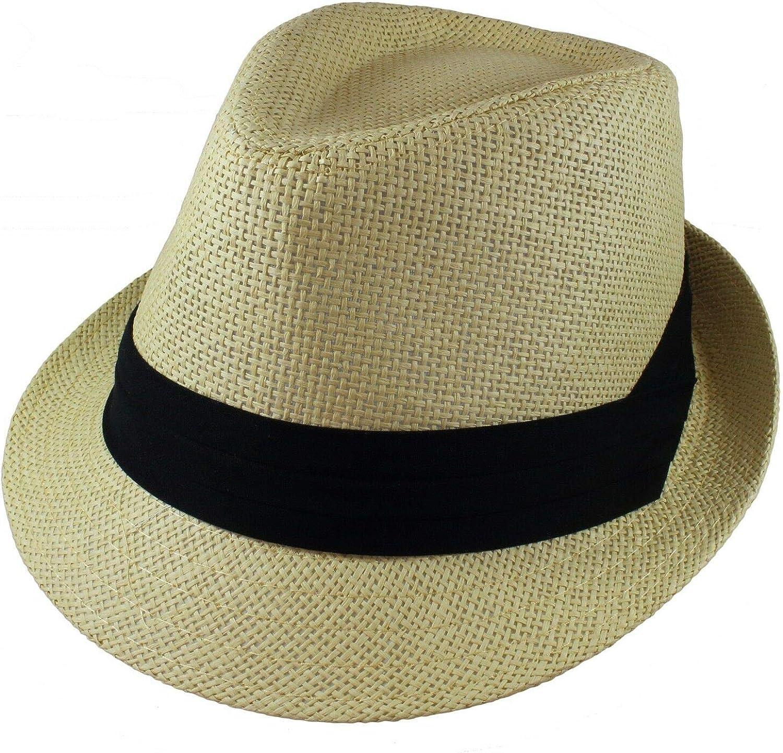 Unisex Beige Summer Fedora Panama Straw Hats with Band Size L/XL