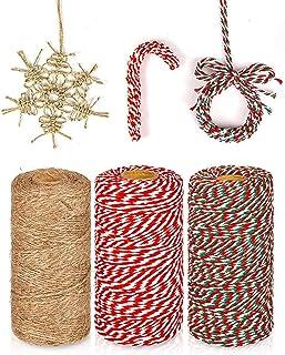 KAHEIGN 3 Stks Kerst Jute Snaren en Katoen Touw Rolls, 984 Voeten Rood Wit Groen Katoen String Jute Touw Koord voor Xmas D...