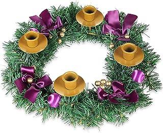 YIIA Products Purple Ribbon Christmas Advent Wreath - for Advent Calendar Season Candle Holder –Centerpiece Décor – Advent...